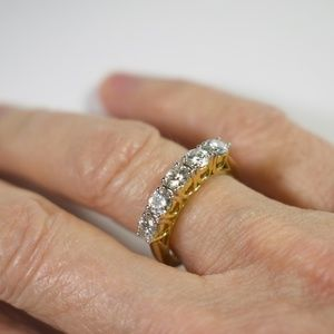 Cubic Zirconia 14K Gold Over SS Promise Ring